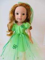 Sew an irish themed dress for your 14 inch doll like Wellie Wishers with the Sugar n Spice PDF sewing pattern by ohsewkat.