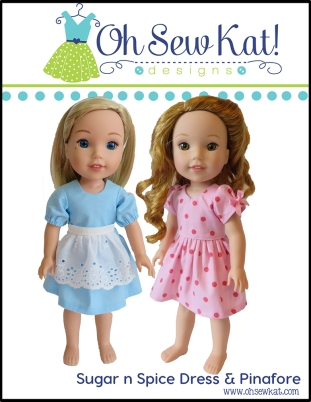 Doll clothes sewing patterns by Oh Sew Kat 18 inch Animators welliewishers American Girl