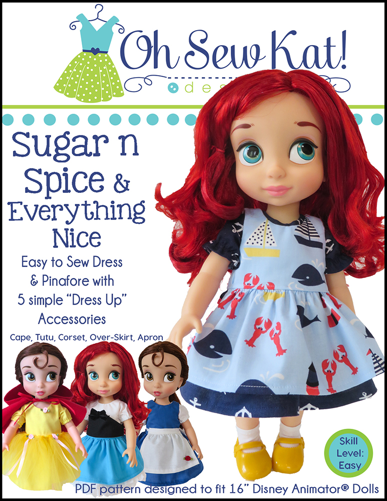 Oh sew kat sewing patterns for dolls animators 18 inch american girl wellie wishers