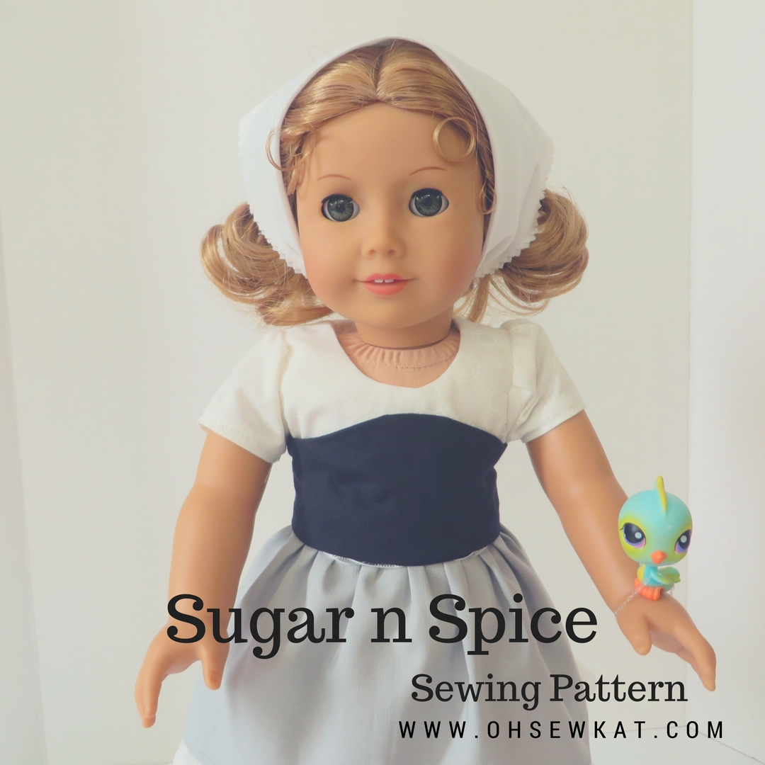 Easy sewing pattern for 18 inch dolls by oh Sew kat. PDF patterns to print at home for beginners. #dolldress #cinderella #sewingpattern #ohsekwat #americangirldoll