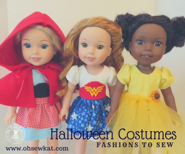 Make a Halloween Costume for your 14 inch doll like Wellie Wishers with easy sewing patterns from OhSewKat! #ohsewkat #welliewishers #halloween #dollclothes #sewingpattern #diy #easypatterns
