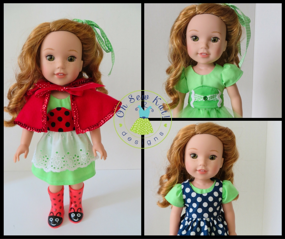 Make a cute doll dress for your Wellie Wishers doll with easy PDF sewing patterns by OhSewKat. Beginner patterns with photo tutorials of each step. #ohsewkat #sewingpattern #dollclothes #welliewishers #tutorial #easypattern #freepattern
