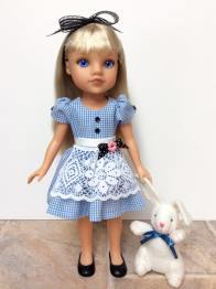 Sugar n Spice dress for wellie wishers doll clothes sewing pattern by oh sew kat #aliceinwonderland #heartsforhearts #ohsewkat #sewingpattern
