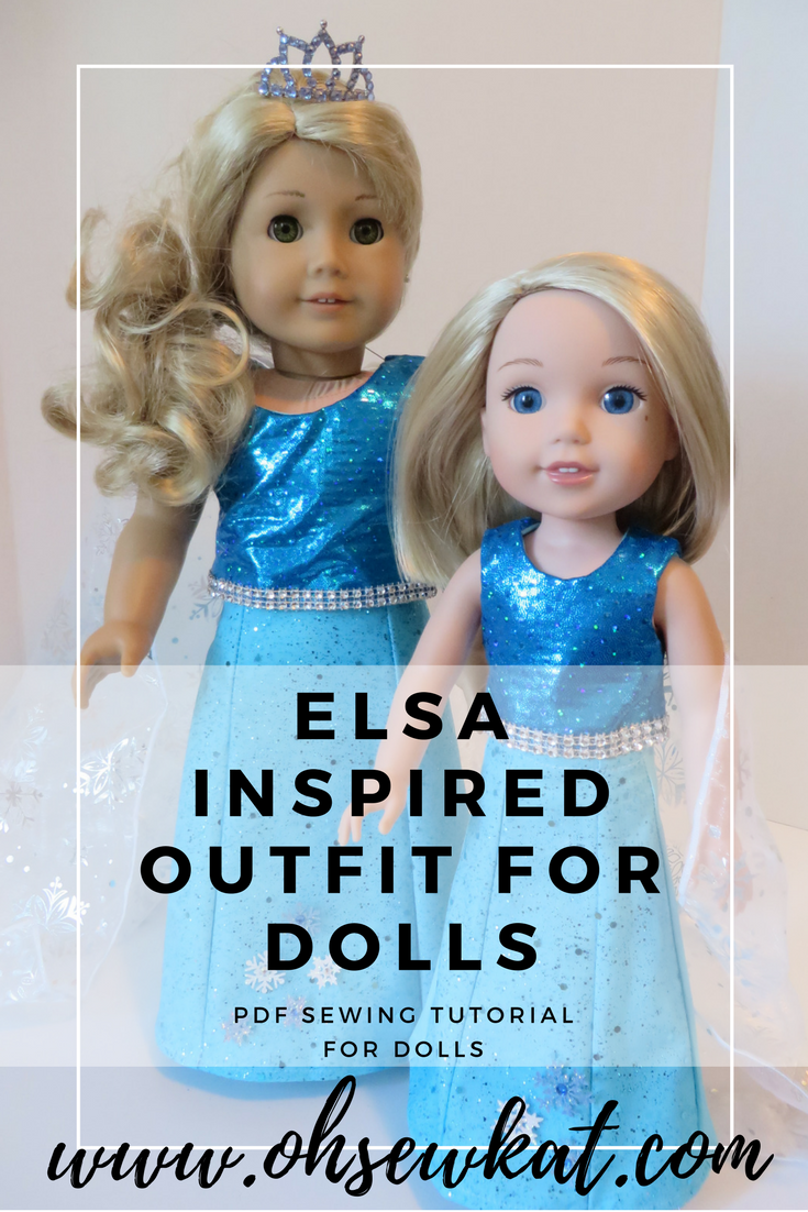 Make a Frozen / Elsa inspired doll Halloween costume with easy sewing patterns from Oh Sew Kat! Popsicle Top and Sixth Grade Skirt pattern hack tutorial can be found at www.ohsewkat.com. #elsacostume #halloween #diy #dollclothes #sewingpattern #ohsewkat