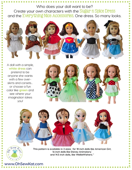 Sewing pattern for 18 inch welliewishers animators dolls by oh sew kat