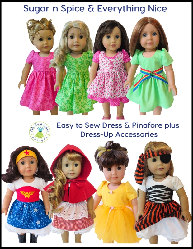 Sugar n Spice doll dress up sewing pattern for 18 inch dolls like American Girl. Easy to sew PDF digital patterns for diy doll clothes.  Simple to follow photo tutorials.