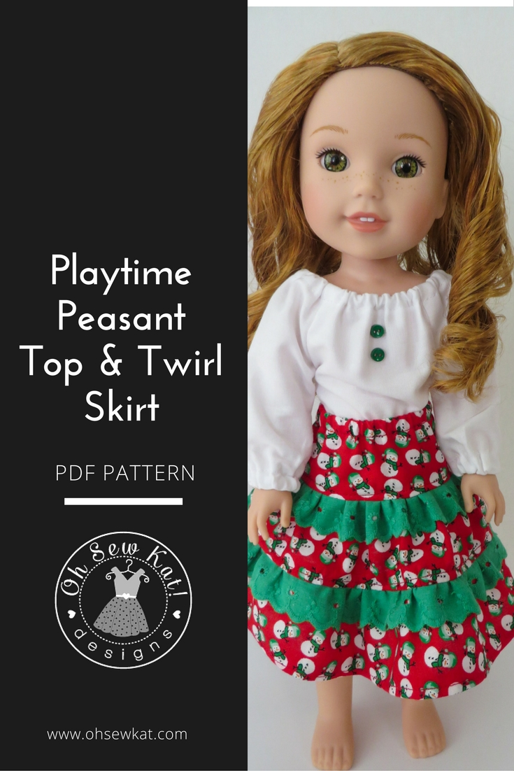 Add lace to a ruffled doll skirt with this free skirt pattern and tutorial for 18 inch and 14 inch dolls like American Girl. Get a Free skirt pattern at www.ohsewkat.com. Playtime Peasant Top and Twirl Skirt PDF print at home digital pattern for 18 inch dolls like Wellie WIshers American Girl. #ohsewkat #sewingpattern #dollclothes #laceskirt #ruffle