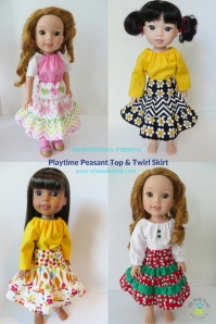 Playtime Peasant Top Twirl Skirt for WellieWishers doll clothes