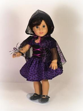Make a Halloween costume for your 18 inch American Girl doll with easy sewing patterns from Oh Sew Kat! Free skirt pattern can be found at www.ohsewkat.com. #batcostume #halloween #diy #dollclothes #sewingpattern #ohsewkat