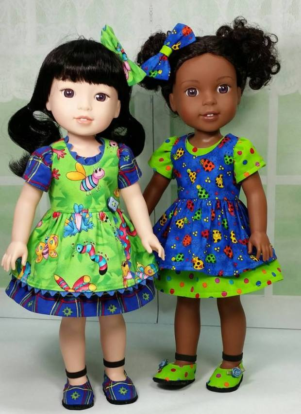 Oh Sew Kat sewing patterns for dolls Sugar n Spice dress for WellieWishers