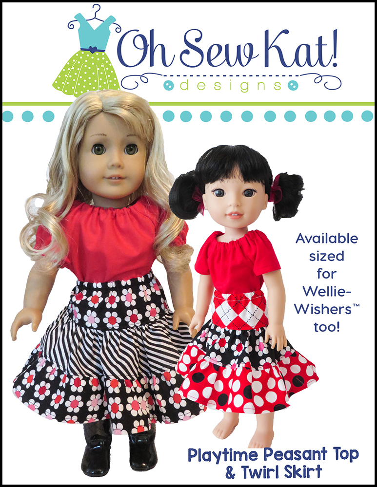 Make doll clothes for 18 inch dolls and Wellie Wishers with this quick and easy sewing pattern from OhSewKat. #sewingpattern #dollclothes #americangirl #ohsewkat #twirlskirt