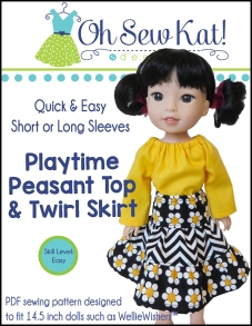 Peasant Top and Twirl Skirt sewing pattern for Welliewishers