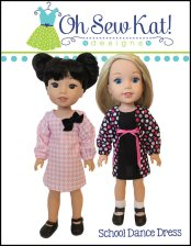 School Dance Dress doll clothes pattern for Wellie Wishers