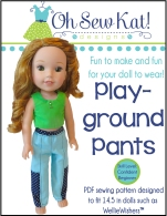Playground Pants sewing pattern for wellie wishers dolls by Oh Sew Kat