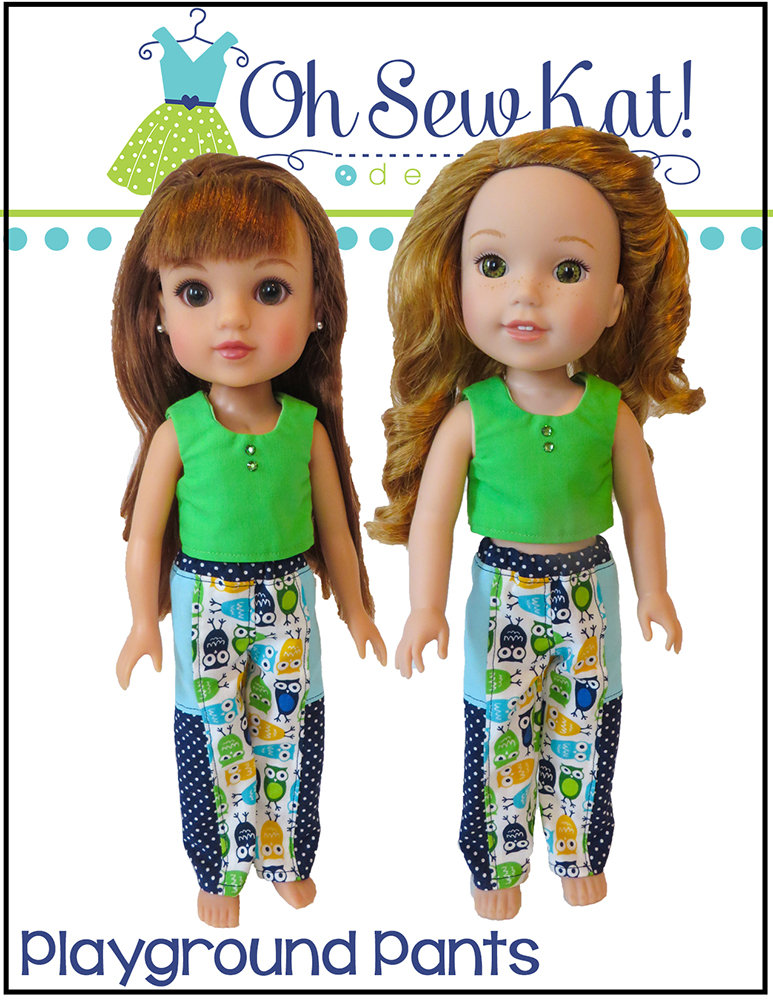 Make a pair of pants for your 14 inch doll with easy sewing patterns by Oh sew kat! Digital pdf patterns for beginners. #dollclothes #sewingpattern #ohsewkat #pantspattern #welliewishers