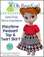 Playtime Peasant Top and Twirl Skirt sewing pattern for Animators