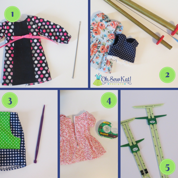 Sewing tools for making doll clothes by Oh Sew Kat