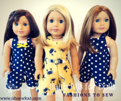 HalterAlls sewing pattern for 18 inch dolls like American Girl