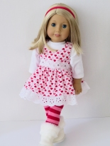Sew an 18 inch doll dress for Valentine's Day with easy PDF sewing patterns from Oh Sew Kat! Click through to find a free skirt pattern. #valentinesday #18inchdolls #americangirldolls #ohsewkat