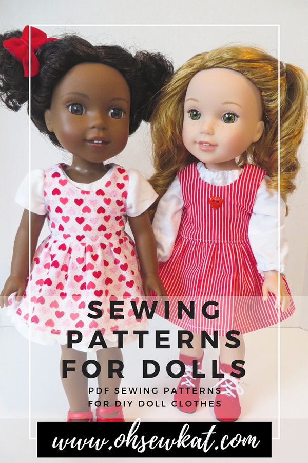 Make doll clothes for Wellie Wishers, Glitter Girls 14 inch dolls with easy sewing patterns by oH Sew Kat. #dollclothes #sewingpatterns #welliewishers #ohsewkat #diyvalentine