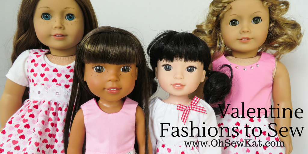 Make doll clothes for Wellie Wishers, Glitter Girls and 18 inch dolls with easy sewing patterns by oH Sew Kat. #dollclothes #sewingpatterns #welliewishers #ohsewkat #diyvalentine