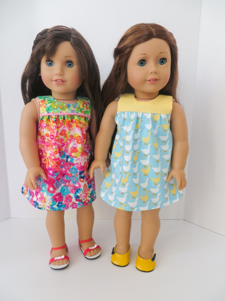 Make a dress for your 18 inch doll like American Girl dolls with easy sewing patterns by Oh Sew Kat! Print at home, download a PDF pattern and sew today.