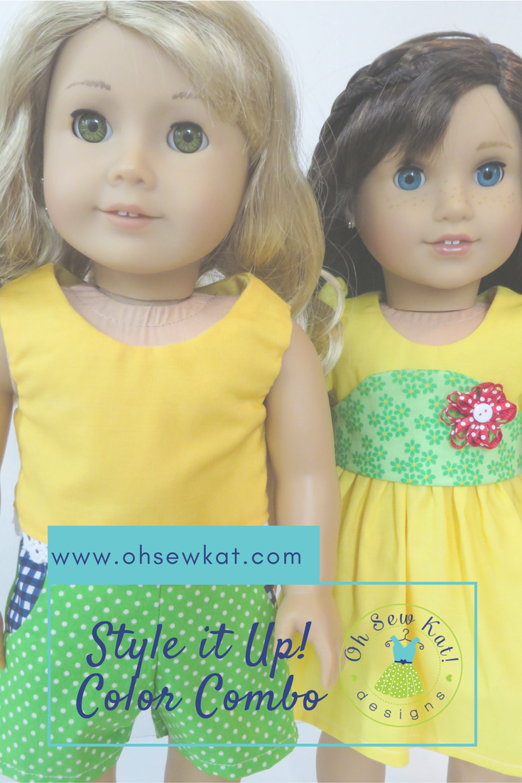 Sewing patterns for American Girl dolls by Oh Sew Kat! are quick and easy to sew with lots of options.  Great for beginners!  #18inchdolls #sewingpatterns #dollclothes