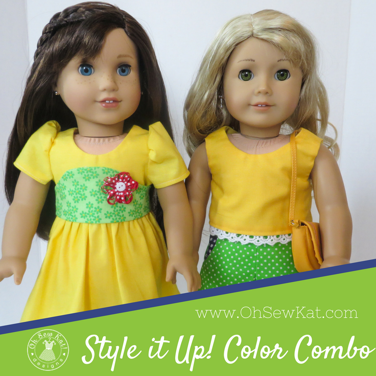 Find Sewing patterns for American Girl dolls by Oh Sew Kat! are quick and easy to sew with lots of options.  Great for beginners!  #18inchdolls #sewingpatterns #dollclothes
