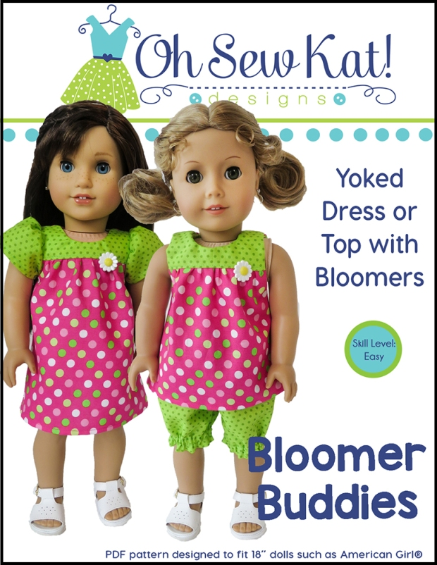 Sewing patterns for 18 inch dolls by Oh Sew Kat! Easy doll dress, top, and bloomers in one easy pattern. #ohsewkat #sewingpattern #dollclothes #easypattern