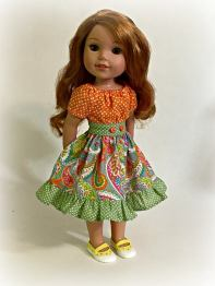 Party Dress Sewing Pattern for Wellie Wishers Dolls by Oh Sew Kat!