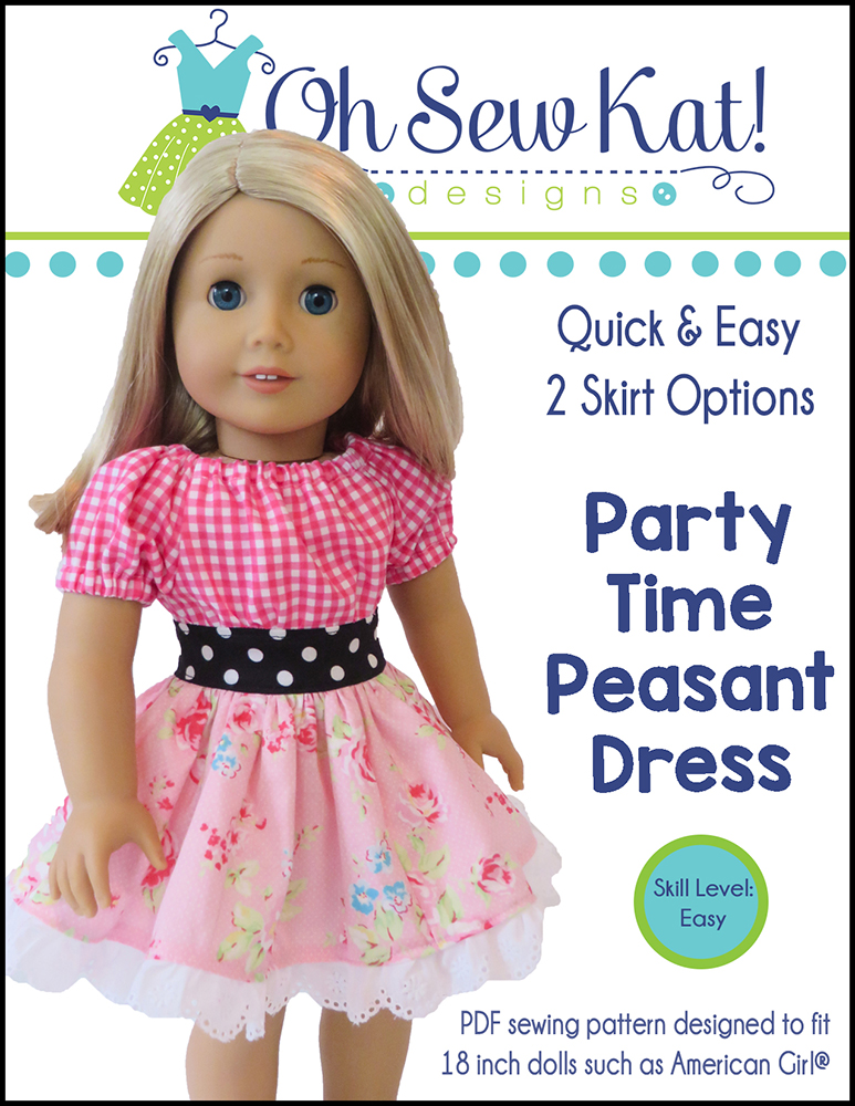Party Dress sewing pattern for dolls by Oh Sew kat!