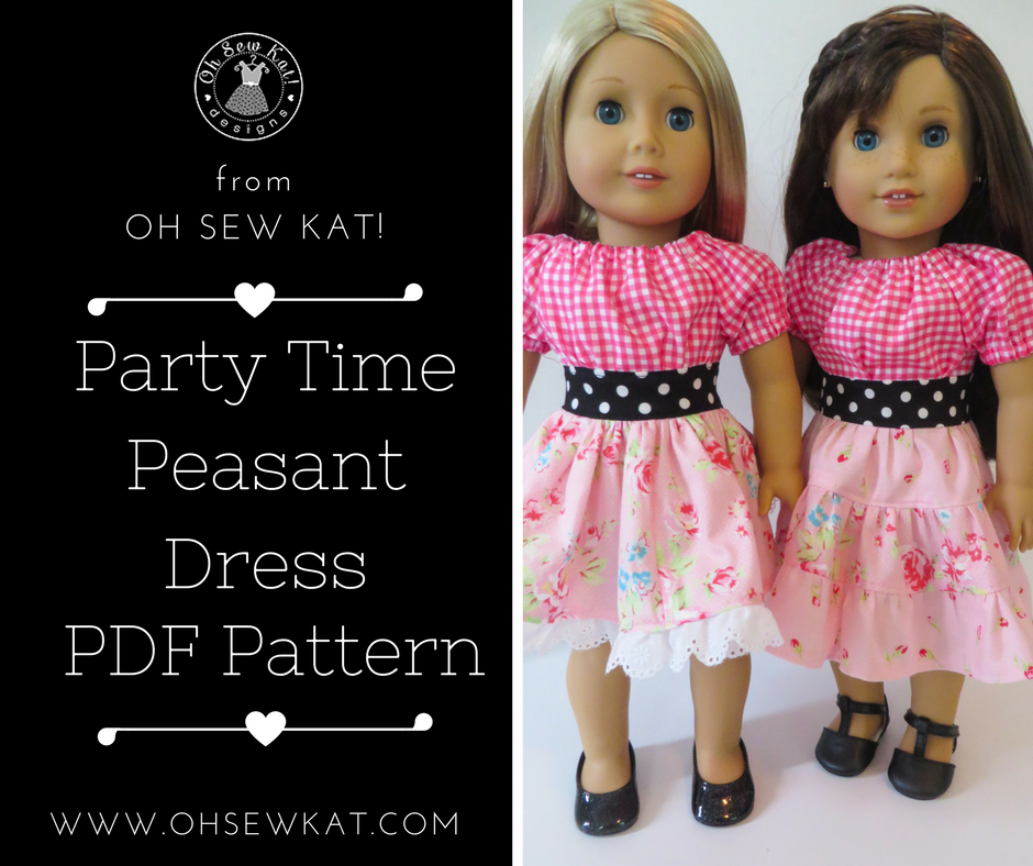 Sewing pattern for a doll party dress by Oh Sew Kat!