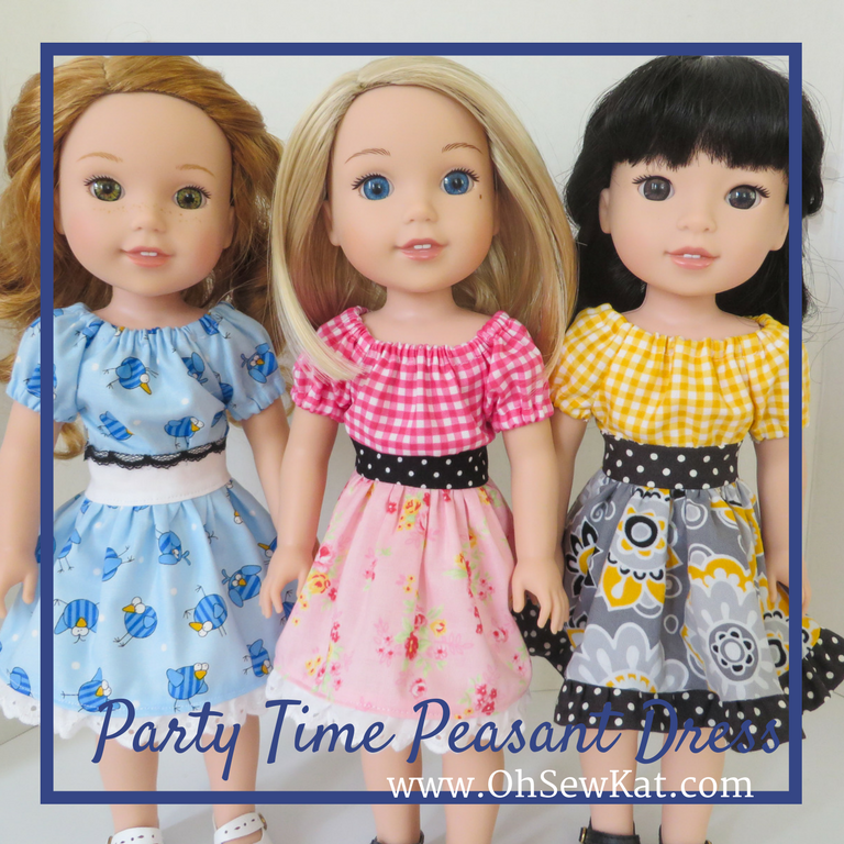 Party Dress sewing pattern for Wellie Wishers dolls