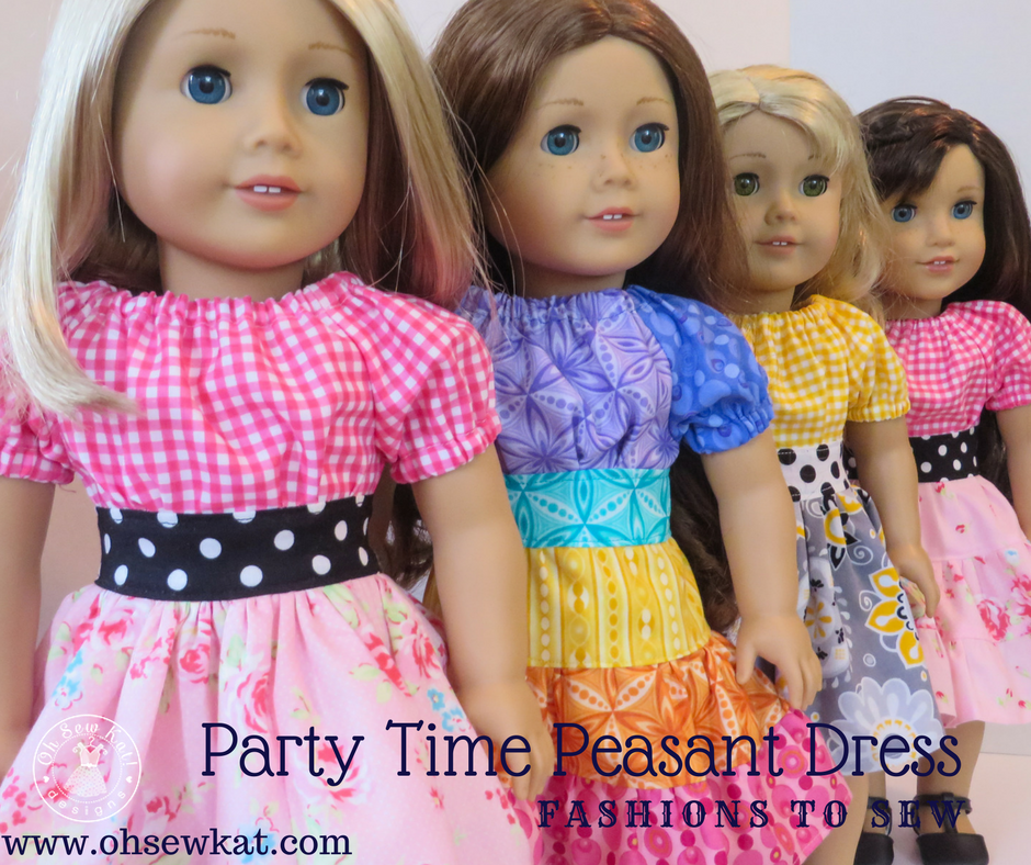 Party Time Peasant Dress sewing pattern for dolls by Oh Sew Kat!