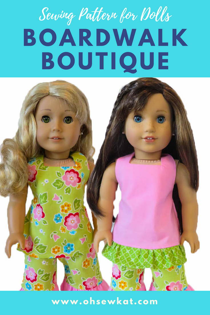 American Girl doll sewing patterns by Oh Sew Kat! The Boardwalk Boutique PDF pattern is found on Etsy, You Can Make This and Pixie Faire.  Make a halter top and capri ruffle pants outfit for your 18 inch doll.  #ohsewkat #sewingpattern #digitalpattern #dollclothes