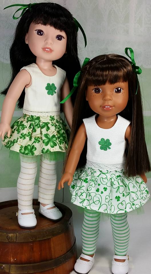 Make St Patrick's Day outfits for wellie wishers dolls with easy sewing patterns from Oh Sew kat! Digital PDF patterns are great for beginners to make a doll clothes wardrobe.