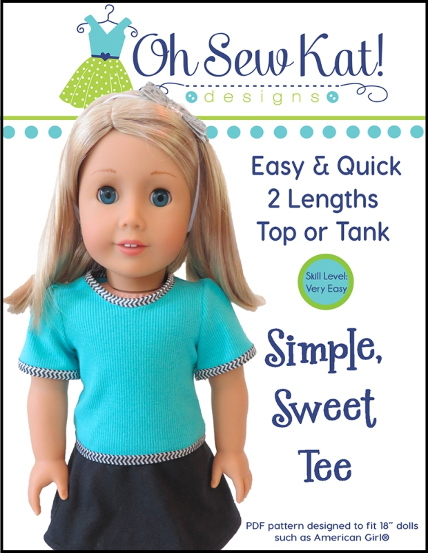 Sewing Pattern 18 inch doll Tee Shirt by OHSEWKAT