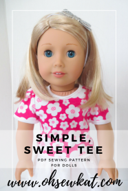 simple tee shirt pattern for doll clothes by ohsewkat