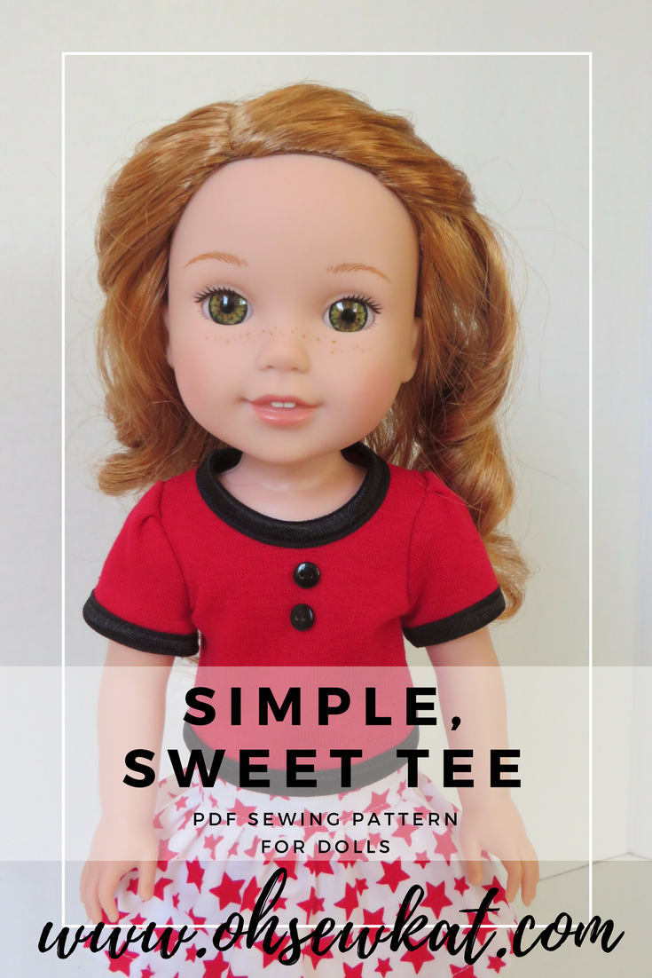 Simple Sweet Tee shirt pattern for wellie wishers dolls (1)