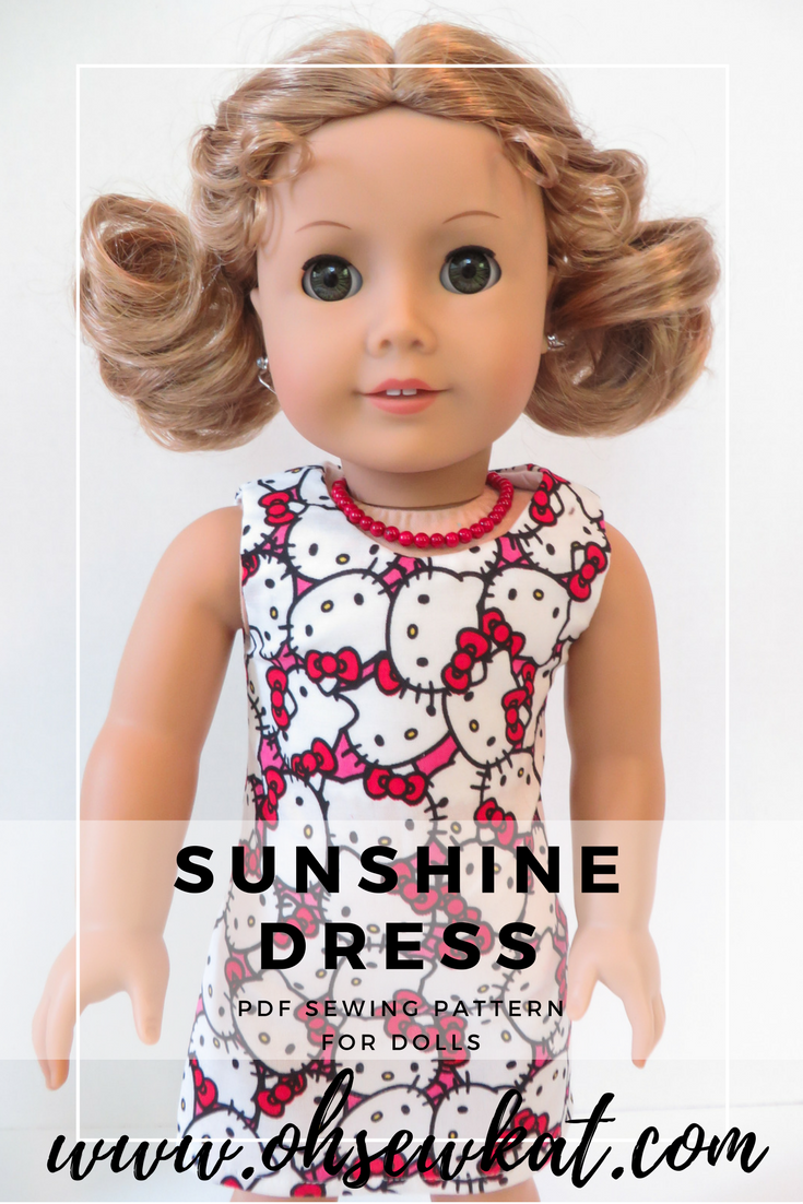 Sunshine Dress Sewing Pattern for 18 inch dolls by Oh Sew Kat!