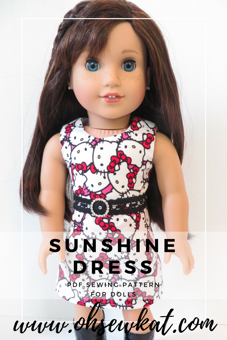 Sunshine Dress sewing pattern for dolls by Oh Sew Kat!