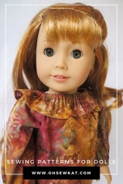 Tutorial for adding a neck ruffle to a peasant top. Find more sewing patterns and tutorials, plus a free pattern at www.ohsewkat.com. #peasanttop #dolltutorial #ohsewkat #dollclothes #sewingpatterns #18inchdolls