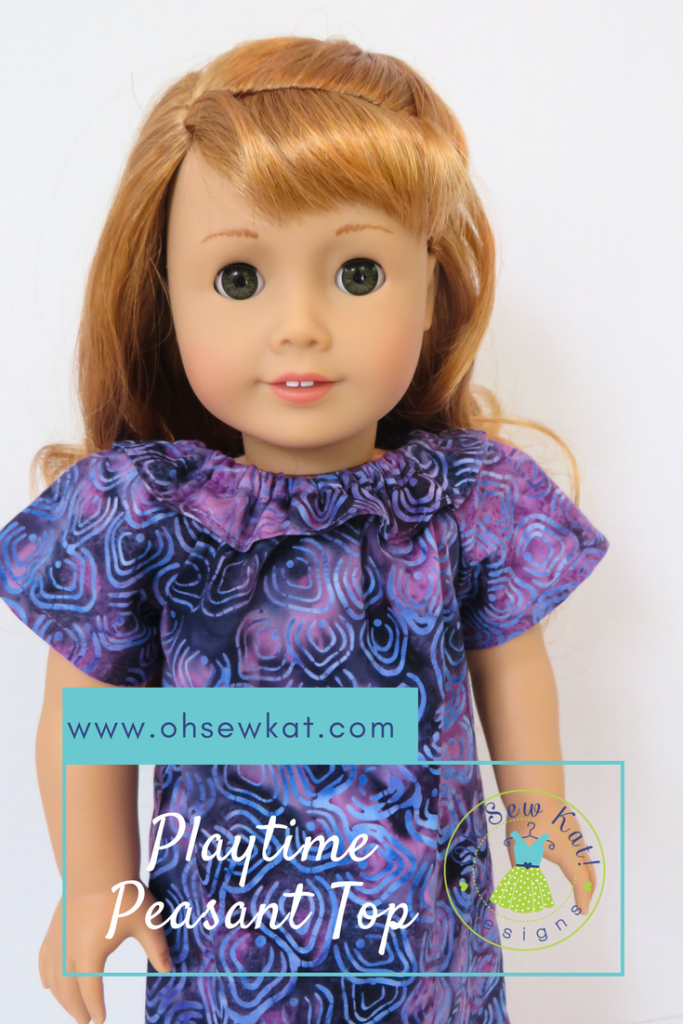 Make an easy, Hawaiian inspired MuuMuu doll dress for your 18 inch doll like Nanea. Easy Playtime Peasant Top sewing pattern tutorial by Oh Sew Kat! Visit www.ohsewkat.com for a free trial skirt pattern. #nanea #ohsewkat #sewingpattern #dollclothes #easy