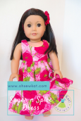 Floral hawaiian dress for dolls Oh Sew Kat! Tutorial. Learn to sew doll clothes with easy sewing patterns by oh sew kat! American Girl doll clothes patterns plus free skirt pattern at www.ohsewkat.com. #dollclothes #diy#sewingproject #beginner #ohsewkat
