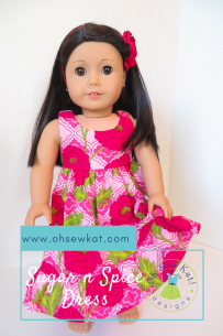 Floral hawaiian dress for dolls Oh Sew Kat! Tutorial