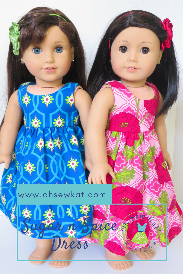 Hawaiian Dress Tutorial. Learn to sew doll clothes with easy sewing patterns by oh sew kat! American Girl doll clothes patterns plus free skirt pattern at www.ohsewkat.com. #dollclothes #diy#sewingproject #beginner #ohsewkat