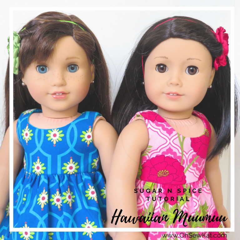 Make a Hawiian dress for your doll tutorial by Oh Sew Kat! Learn to sew doll clothes with easy sewing patterns by oh sew kat! American Girl doll clothes patterns plus free skirt pattern at www.ohsewkat.com. #dollclothes #diy#sewingproject #beginner #ohsewkat