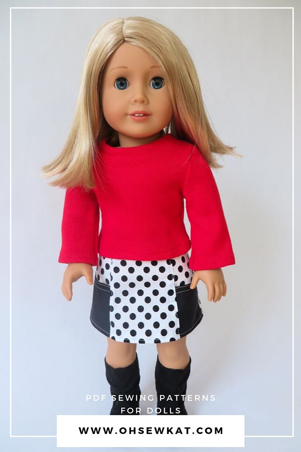 Easy Skirt sewing pattern for diy 18 inch doll clothes. Perfect for beginners. Easy doll clothes sewing patterns from Oh Sew Kat!