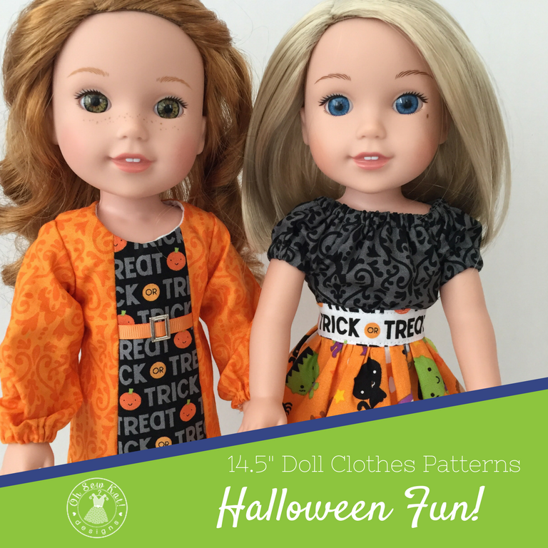 Fall Halloween Dress sewing pattern for Wellie Wishers and other size dolls. Easy sewing pattern for dolls by Oh Sew Kat! #halloween #dolldress #welliewishers #ohsewkat