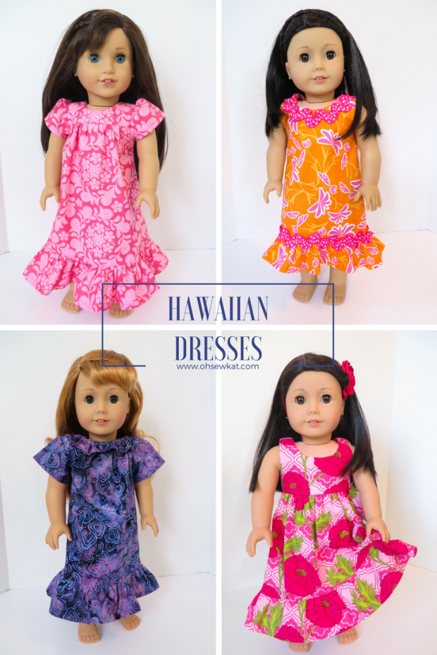 Make a Hawaiian muumuu outfit for Nanea American Girl Doll Clothes with easy sewing PDF patterns from Oh Sew Kat! Blog with craft tutorials and free skirt pattern. #ohsewkat #dollclothes #40s #dress #nanea #sewing